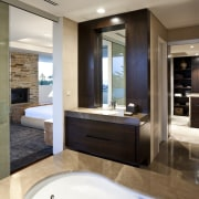View of house with stone walls, walnut panelling bathroom, estate, floor, interior design, room, suite, gray