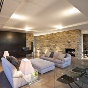 View of house with stone walls, walnut panelling apartment, architecture, ceiling, floor, flooring, hardwood, home, house, interior design, living room, lobby, loft, real estate, room, wall, wood flooring