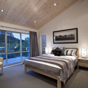 Interior view of this contemporary home bedroom - bed frame, bedroom, ceiling, estate, home, interior design, real estate, room, window, wood, gray