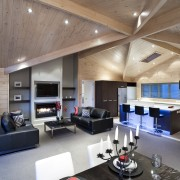 Interior view of this modern home - Interior ceiling, interior design, living room, lobby, gray