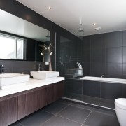 View of this modern home - View of bathroom, countertop, interior design, kitchen, room, sink, black, white