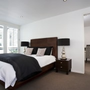 View of this modern home - View of bed frame, bedroom, ceiling, estate, floor, home, interior design, property, real estate, room, gray
