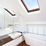View of this remodeled contemporary bathroom - View architecture, bathroom, ceiling, daylighting, floor, home, house, interior design, real estate, room, window, white