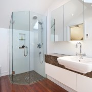 View of this remodeled contemporary bathroom - View bathroom, bathroom accessory, home, interior design, plumbing fixture, real estate, room, sink, white, gray