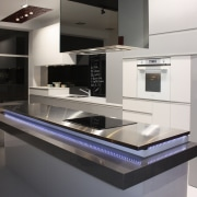 View of a contemporary kitchen area - View countertop, interior design, kitchen, product design, gray, black