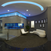 View of the security specialists Nexbis offices, reception architecture, ceiling, estate, home, interior design, lighting, lobby, black