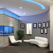 View of the security specialists Nexbis offices, reception ceiling, daylighting, home, interior design, lighting, living room, room, wall, gray, black