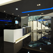 View of the security specialists Nexbis offices, reception architecture, ceiling, glass, interior design, lighting, lobby, product design, black