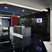 View of the security specialists Nexbis offices, reception interior design, black, gray