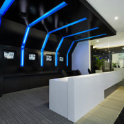 View of the security specialists Nexbis offices, reception architecture, daylighting, glass, house, interior design, product design, black, gray