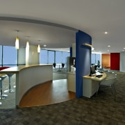 View of the security specialists Nexbis offices, reception architecture, ceiling, floor, flooring, interior design, lobby, office, real estate, table, gray