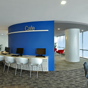 View of the security specialists Nexbis offices, reception ceiling, conference hall, interior design, office, real estate, gray