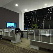 View of the security specialists Nexbis offices, reception ceiling, floor, interior design, living room, room, black, gray