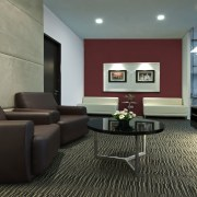 View of the security specialists Nexbis offices, reception ceiling, floor, flooring, furniture, home, interior design, living room, lobby, real estate, room, suite, waiting room, black, gray