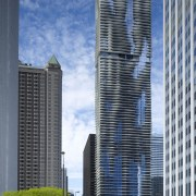 Exterior view of the Aqua Tower in Chicago architecture, building, city, cityscape, commercial building, condominium, corporate headquarters, daytime, downtown, facade, headquarters, landmark, metropolis, metropolitan area, mixed use, reflection, sky, skyline, skyscraper, tower, tower block, urban area