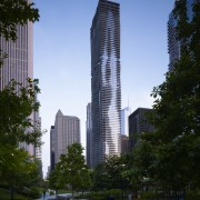 Exterior view of the Aqua Tower in Chicago architecture, building, city, condominium, corporate headquarters, daytime, downtown, estate, headquarters, landmark, metropolis, metropolitan area, mixed use, neighbourhood, real estate, reflection, residential area, sky, skyline, skyscraper, tower, tower block, tree, urban area, black