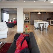 Interior view of this contemporary home - Interior ceiling, floor, flooring, house, interior design, living room, room, gray