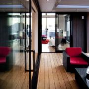 Interior view of this contemporary home - Interior apartment, architecture, floor, flooring, hardwood, house, interior design, window, wood, wood flooring, black