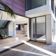Exterior view of this contemporary home - Exterior apartment, architecture, building, condominium, estate, facade, house, interior design, property, real estate, gray, white