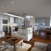 Contemporary home designed and built by Graeme Alexander ceiling, interior design, living room, real estate, room, gray