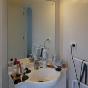 View of bathroom prior to renovations - View bathroom, ceiling, countertop, home, house, interior design, room, sink, gray