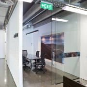 Interior view of office spaces within the hotel glass, interior design, gray, white