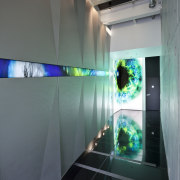 Interior view of a hallway at one entrance daylighting, glass, interior design, light, lighting, technology, gray, black