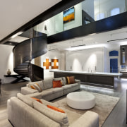 View of renovated home which features open plan interior design, interior designer, living room, real estate, gray, black