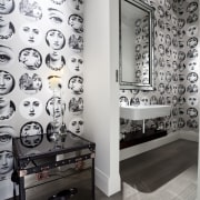 View of renovated home which features powder room black and white, design, interior design, room, wall, gray