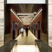 Interior view of the elevator lobby at the architecture, brown, white
