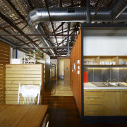 Interior view of office spaces at Light Space ceiling, interior design, loft, brown, black