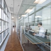 Interior view of the Scientific Software and Systems architecture, daylighting, glass, gray