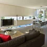 View of open plan living and dining area home, house, interior design, living room, property, real estate, gray