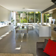 View of open plan living and dining area house, interior design, real estate, gray