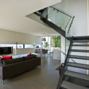 View of stairway with glass balustrade and stainless architecture, ceiling, daylighting, floor, flooring, handrail, house, interior design, living room, loft, stairs, gray