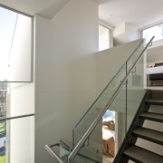 View of stairway with glass balustrade and stainless architecture, ceiling, daylighting, glass, handrail, house, interior design, stairs, gray