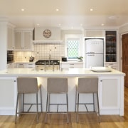 View of a traditional-styled kitchen which features timber cabinetry, countertop, cuisine classique, floor, flooring, hardwood, interior design, kitchen, real estate, room, wood flooring, gray