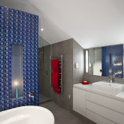 View of contemporary bedroom with ensuite featuring blue architecture, bathroom, ceiling, interior design, room, gray