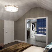 View of contemporary bedroom with ensuite featuring blue ceiling, daylighting, home, interior design, room, wall, gray