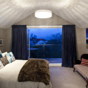 View of contemporary bedroom with ensuite featuring blue architecture, bedroom, ceiling, estate, home, hotel, interior design, real estate, room, suite, wall, gray
