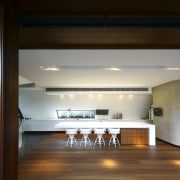 View of kitchen area featuring hardwood flooring, island architecture, ceiling, daylighting, floor, house, interior design, lighting, loft, black, brown