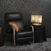 View of the wallcoverings by Pacific Wallcoverings chair, couch, furniture, home, interior design, lighting, living room, recliner, wall, wallpaper, black