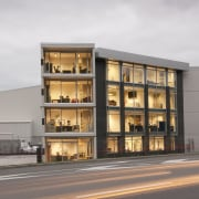 View of a logistics centre designed by Cymon apartment, architecture, building, commercial building, condominium, facade, mixed use, property, real estate, white, gray