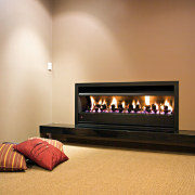 View of contemporary fireplace - View of contemporary fireplace, hearth, heat, interior design, wood burning stove, orange, brown