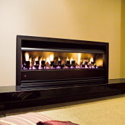 View of contemporary fireplace - View of contemporary fireplace, hearth, heat, orange