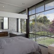View of bedroom which features bed with grey architecture, bedroom, estate, home, house, interior design, property, real estate, room, window, window covering, gray