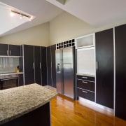 View of the contemporary kitchen - View of cabinetry, interior design, kitchen, real estate, room, gray, black