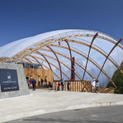 View of the canopy at the Waitomo Caves arch, architecture, building, dome, roof, sky, structure, gray, blue