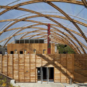 View of the canopy at the Waitomo Caves architecture, facade, real estate, roof, structure, wood, brown, teal