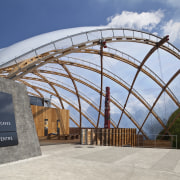View of the canopy at the Waitomo Caves arch, architecture, building, dome, roof, shed, sky, structure, gray